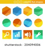 colorful flat shapes with icons
