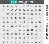 100 universal standard icons... | Shutterstock .eps vector #204095536