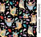 seamless colourfull owl pattern ... | Shutterstock .eps vector #204099142