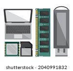set icons computer  usb and...   Shutterstock .eps vector #2040991832