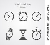 clocks icons set flat style | Shutterstock .eps vector #204101968