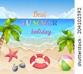 summer beach illustration palm... | Shutterstock . vector #204102592