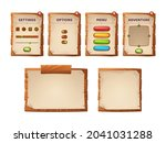 game ui scrolls  wooden boards...