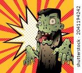 zombie pop art vintage style...   Shutterstock .eps vector #2041194242