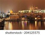 night romantic snowy prague... | Shutterstock . vector #204125575