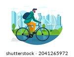 man ride on bike in city public ...   Shutterstock .eps vector #2041265972