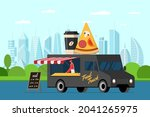 fast food black truck with...   Shutterstock .eps vector #2041265975