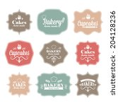 collection of vintage retro...   Shutterstock .eps vector #204128236