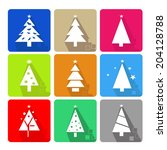 icons set with christmas tree... | Shutterstock .eps vector #204128788