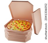 3d cardboard boxes with pizza ...