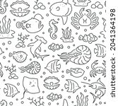 seamless pattern with marine...   Shutterstock .eps vector #2041364198