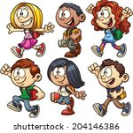 school kids. vector clip art... | Shutterstock .eps vector #204146386