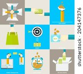 set of flat simple icons ...   Shutterstock .eps vector #204147376