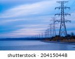 Row Of Large Electrical Towers...