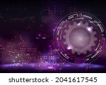 abstract techno gear background ...   Shutterstock .eps vector #2041617545