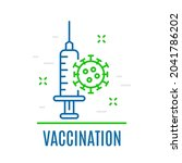 syringe with vaccine and virus. ...   Shutterstock .eps vector #2041786202