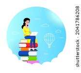 woman sitting on stack of books ...   Shutterstock .eps vector #2041786208