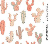 cacti with large thorns... | Shutterstock .eps vector #2041789112