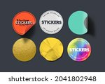 a set of blank round adhesive...   Shutterstock .eps vector #2041802948
