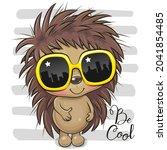 cool cartoon hedgehog with... | Shutterstock .eps vector #2041854485