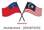 samoa and malaysia flags... | Shutterstock .eps vector #2041874252