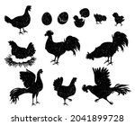 rooster  hen and chicken...   Shutterstock .eps vector #2041899728