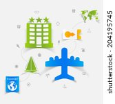 set of summer tourism icons   Shutterstock . vector #204195745