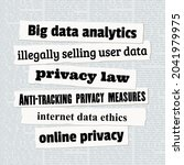 online privacy news headlines....   Shutterstock .eps vector #2041979975