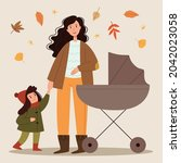 young mother walks with a... | Shutterstock .eps vector #2042023058