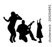 vector silhouette of a family... | Shutterstock .eps vector #204204892