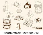 cheese and milk products | Shutterstock .eps vector #204205342