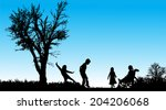 vector silhouette of children... | Shutterstock .eps vector #204206068