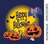 happy halloween. cartoon cute...   Shutterstock .eps vector #2042101802