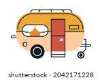 orange recreational vehicle... | Shutterstock .eps vector #2042171228