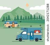 recreational vehicles in the... | Shutterstock .eps vector #2042171288