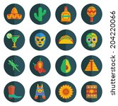 set of mexican themed round... | Shutterstock .eps vector #204220066