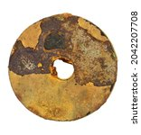rusty metal washer insulated on ... | Shutterstock . vector #2042207708