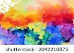multi colored mosaic. rainbow... | Shutterstock .eps vector #2042210375