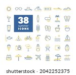 summer vector icons set....