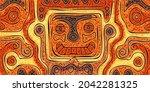 abstract creature in ethnic... | Shutterstock .eps vector #2042281325