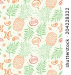 exotic fruits background.... | Shutterstock .eps vector #204228322