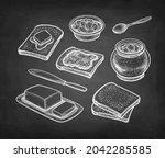 breakfast set. slices of... | Shutterstock .eps vector #2042285585
