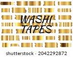gold washi tape strips or washy ...   Shutterstock .eps vector #2042292872