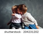 two happy children sitting on a ... | Shutterstock . vector #204231202