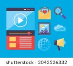 multimedia content icons on... | Shutterstock .eps vector #2042526332
