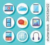 multimedia content icon... | Shutterstock .eps vector #2042526422