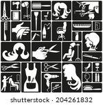white icons on black background ... | Shutterstock .eps vector #204261832