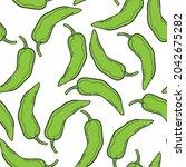 green pepper vector seamless...   Shutterstock .eps vector #2042675282