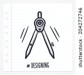 vector doodle drawing compass...
