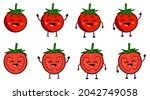 cute kawaii style tomato icon ... | Shutterstock .eps vector #2042749058
